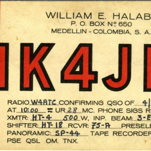 QSL Card from HK4JB, Medellin, Colombia, to W4ATC, NC State Student Amateur Radio
