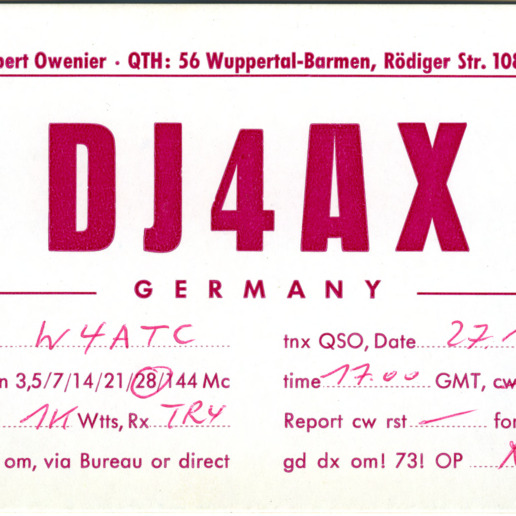 QSL Card from DJ4AX, Wuppertal-Barmen, Germany, to W4ATC, NC State Student Amateur Radio