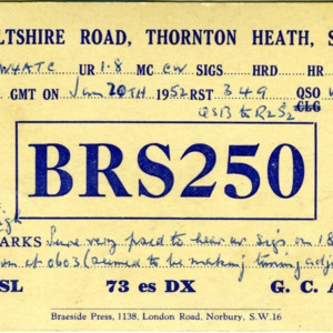 QSL Card from BRS250, Thorton Heath, England, to W4ATC, NC State Student Amateur Radio