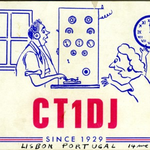 QSL Card from CT1DJ, Lisbon, Portugal, to W4ATC, NC State Student Amateur Radio