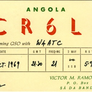 QSL Card from CR6LF, Sa Da Bandeira, Angola, to W4ATC, NC State Student Amateur Radio