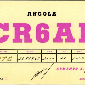 QSL Card from CR6AL, Lobito, Angola, to W4ATC, NC State Student Amateur Radio