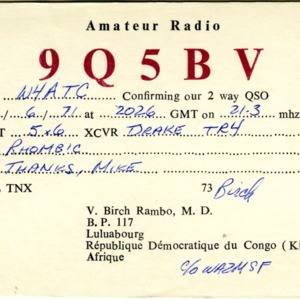 QSL Card from 9Q5BV, Luluabourg, Congo, to W4ATC, NC State Student Amateur Radio