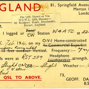 QSL Card from Merton Park, England, to W4ATC, NC State Student Amateur Radio