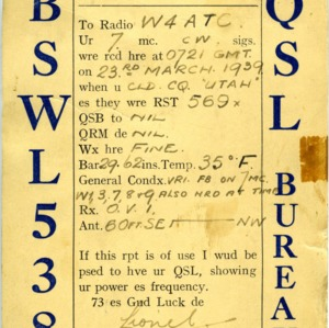 QSL Card from BSWL538, Dorchester, England, to W4ATC, NC State Student Amateur Radio