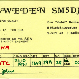 QSL Card from SM5DJZ, Linkoping, Sweden, to W4ATC, NC State Student Amateur Radio