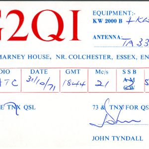 QSL Card from G2QI, Layer Marney House, Essex, England, to W4ATC, NC State Student Amateur Radio
