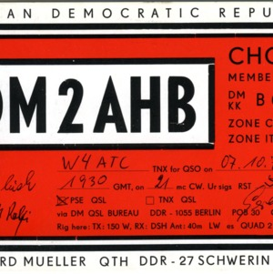 QSL Card from DM2AHB, Berlin, Germany, to W4ATC, NC State Student Amateur Radio