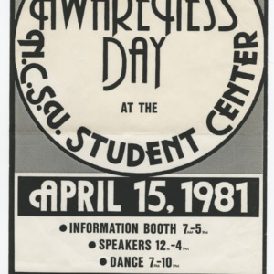 Gay Awareness Day at the NCSU Student Center flyer