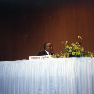 Clarence Lightner on a panel at the 1990 Emerging Issues Forum