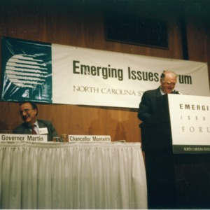 Governor James G. Martin and Chancellor Larry K. Monteith on a panel at the 1990 Emerging Issues Forum