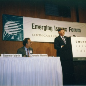 Chancellor Larry K. Monteith and Governor James G. Martin on a panel at the 1990 Emerging Issues Forum