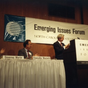 Governor James G. Martin, Chancellor Larry K. Monteith, and Governor James B. Hunt on a panel at the 1990 Emerging Issues Forum