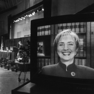 Hillary Clinton on video conference at the 1994 Emerging Issues Forum