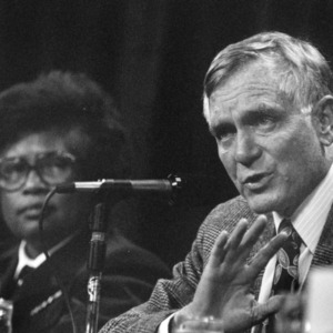 US Surgeon General Joycelyn Elders and Governor Lawton Chiles on a panel at the 1994 Emerging Issues Forum