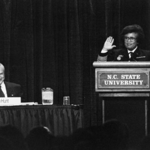 Governor James B. Hunt and US Surgeon General Joycelyn Elders on a panel at the 1994 Emerging Issues Forum