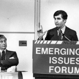 Chancellor Bruce R. Poulton and Governor Michael Dukakis 1987 Emerging Issues Forum