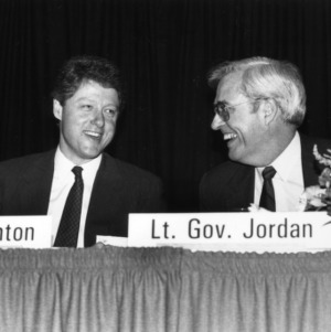 Governor Bill Clinton and Lt. Governor Bob Jordan on a panel at the 1988 Emerging Issues Forum