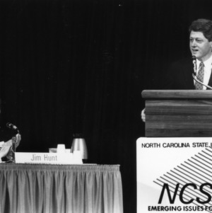 Governor James B. Hunt and Governor Bill Clinton on a panel at the 1988 Emerging Issues Forum