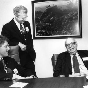 Governor Bill Clinton, Governor James B. Hunt, and Paul Volcker at the 1988 Emerging Issues Forum
