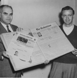 Former Technician editor Roy Park with Technician editor at the time, L. C. Draughon