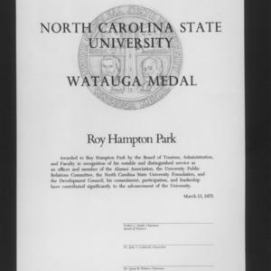 Roy H. Park's Watauga Medal certificate