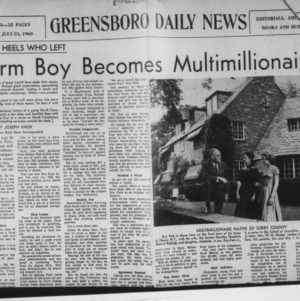 "Greensboro Daily News article on Roy H. Park, ""The Tar Heels Who Left; Farm Boy Becomes Millionaire"""