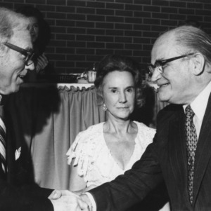 Chancellor John T. Caldwell with Roy Park and Dottie Park
