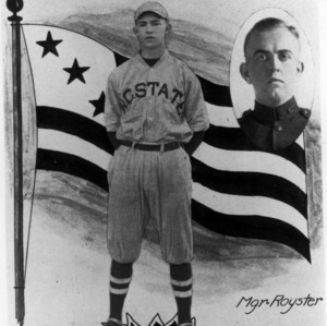 Photomontage from 1918 Agromeck showing North Carolina State baseball team captain, Lewis, and manager, Royster