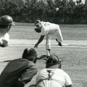 Mike Caldwell pitching during a baseball game