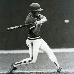 A North Carolina State baseball player at bat during a game against the University of Virginia