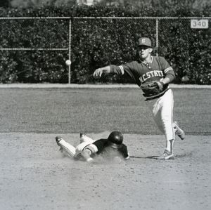 A play at second base during a baseball game