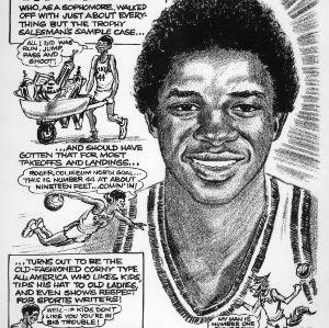 Comic profile of basketball player David Thompson