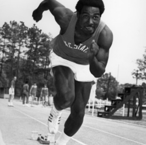 Charley Young sprinting on track