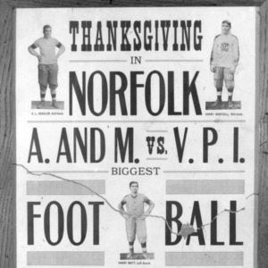 "Football Poster - ""Thanksgiving in Norfolk, A. AND M. vs. V.P.I"""