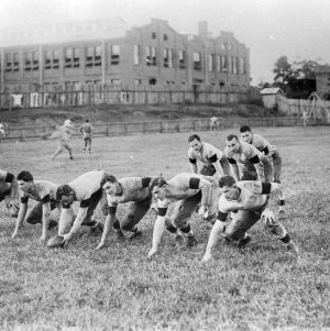 Football team in Riddick Field