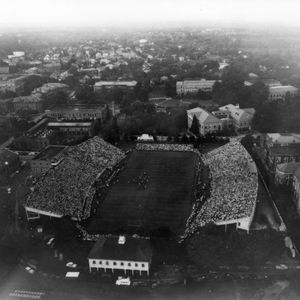 Aerial shot of N. C. State and Duke football game