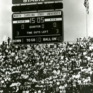 Scoreboard for N. C. State and ECU football game at Carter-Finley Stadium