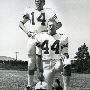 Paul Sharp (14) and Pete Burgess (44) of the 1967 Freshman football team