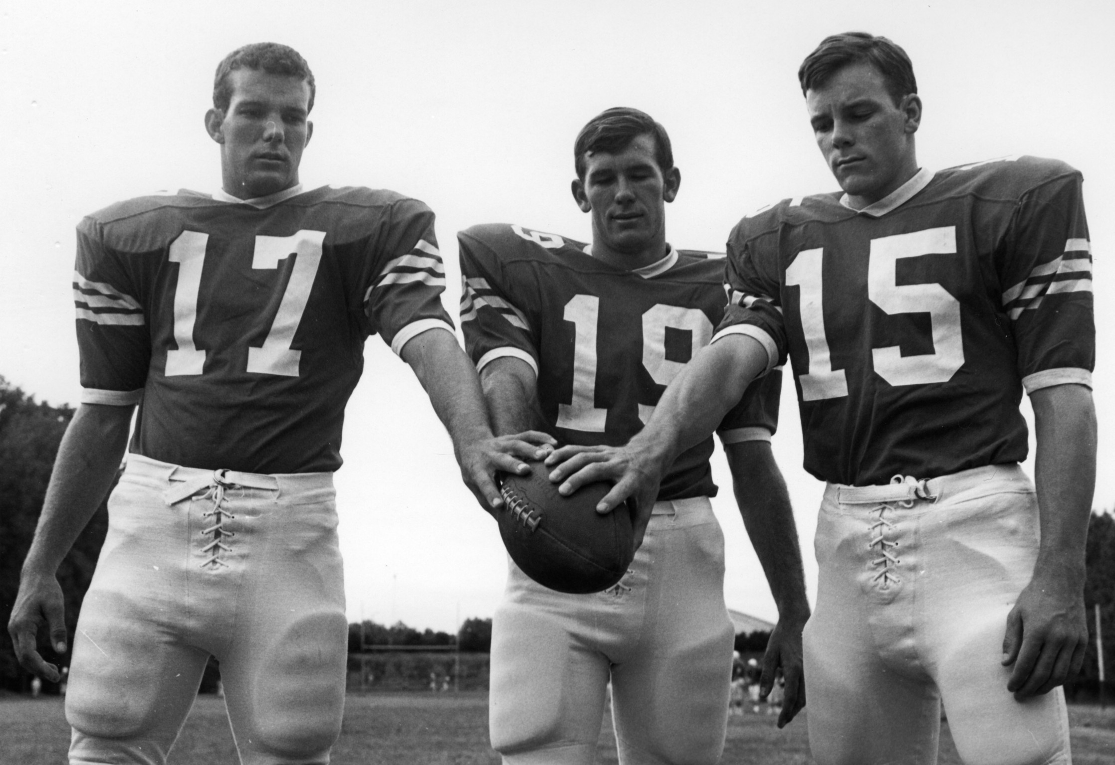 N. C. State freshman quarterbacks Lynn Daniell, Frank Clinton, and Van Walker