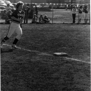 N. C. State Women's Softball player Diane Snook at game