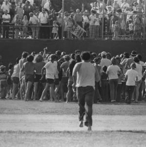 Crowd of sports fans outside Doak Field