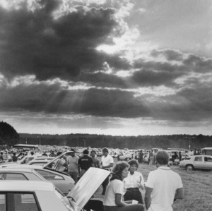 Sports fans tailgating