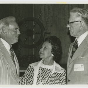 Dr. John Caldwell, Mrs. Margaret Caldwell, and Mr. Harry B. Caldwell talk at the Agricultural Foundation Meeting