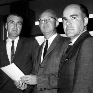 L. S. Hubbard, Dr. H. Brooks James, and Dr. Henry Garren at scholarship presentation