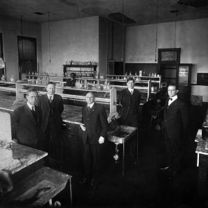 Professor W. A. Withers and staff in chemistry laboratory