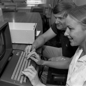 College of Agriculture and Life Sciences personnel using computer
