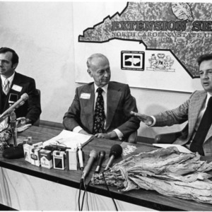 Chancellor Joab L. Thomas, Clifford H. Goldsmith (President of Philip Morris, USA), and Governor James B. Hunt, Jr.