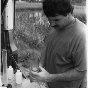 Bob Cairns with water research equipment