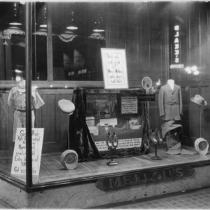 Storefront window display at Mellon's Department Store, Part of promotional milk campaign